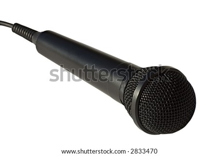 close up of singer microphone. Shallow DOF focus on the head, isolated on white background - path included - stock photo