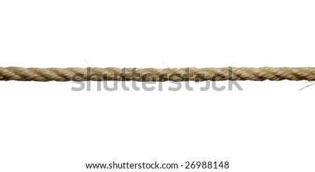 close up of single rope line on white background with clipping path - stock photo