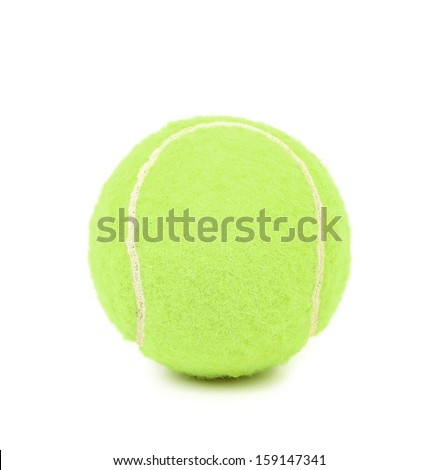 Close up of single tennis ball. Isolated on a white backgropund.