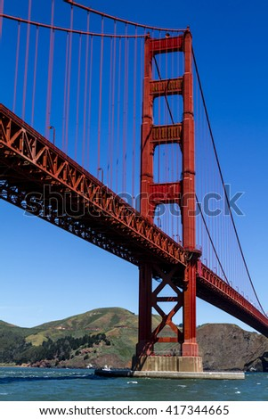 Close up of single tower of Golden Gate Bridge in San Francisco California from Fort Point National Historic Site on sunny morning - stock photo