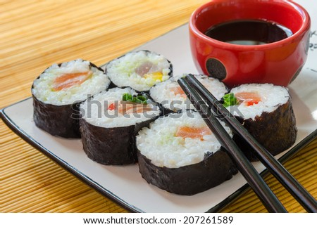 close-up of six sushi rolls on a traditional plate with a bowl of soy sauce and chopsticks