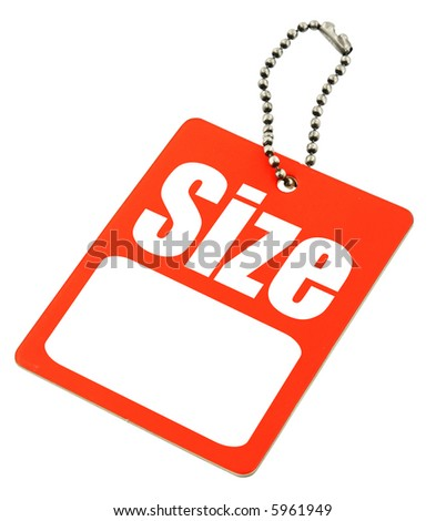 close-up of Size Tag with copy space isolated on white - stock photo