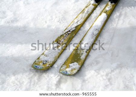 Close-up of skis on snow - stock photo