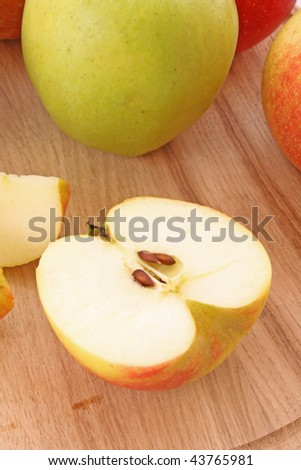 Close up of sliced green apple