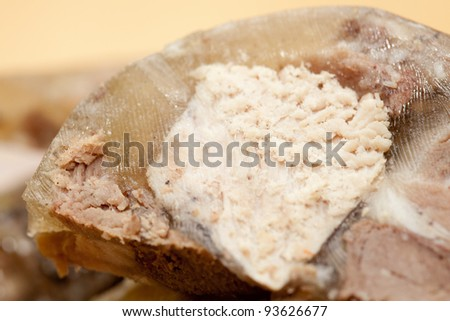 Close up of sliced headcheese sausage