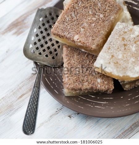 Close-up of sliced meat jelly, high angle view - stock photo