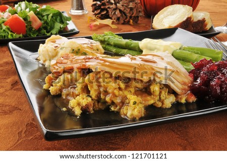 Close up of sliced turkey on stuffing with cranberry sauce and mashed potatoes - stock photo