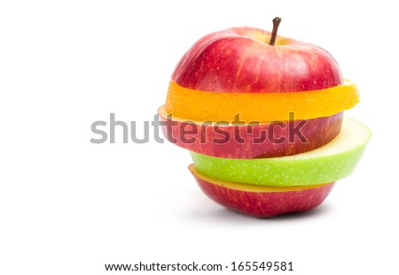 Close up of slices of fruit in shape of apple, isolated. Concept of healthy eating and dieting lifestyle