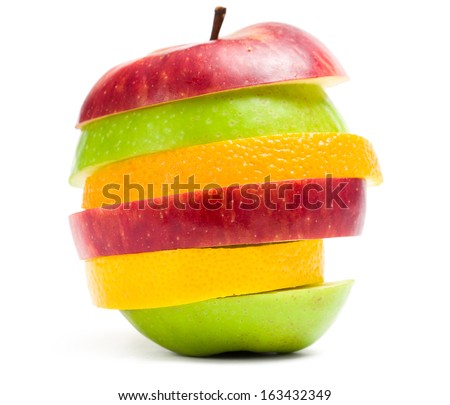 Close up of slices of fruit in shape of apple, isolated on white background. Concept of healthy eating and dieting lifestyle - stock photo
