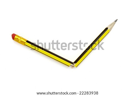 close up of small broken pencil on white background with clipping path - stock photo