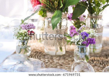 Closeup Small Colorful Bouquets Decorated Vases Stock Photo Royalty