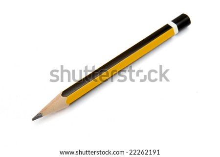 close up of small pencil on white background with clipping path