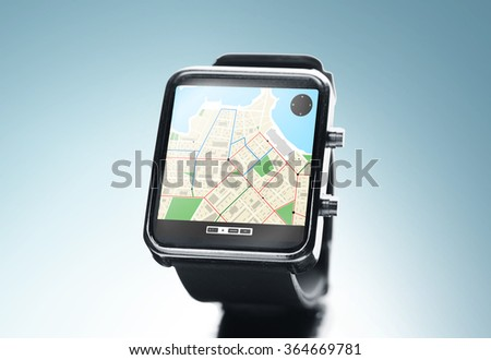 close up of smart watch with gps navigation app