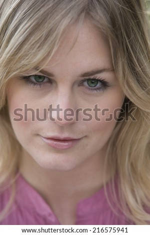 Close up of smiling blonde woman