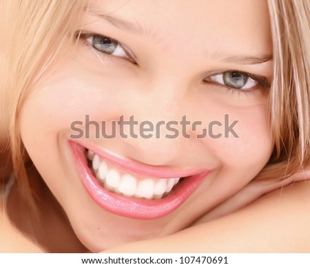 close up of smiling woman - stock photo