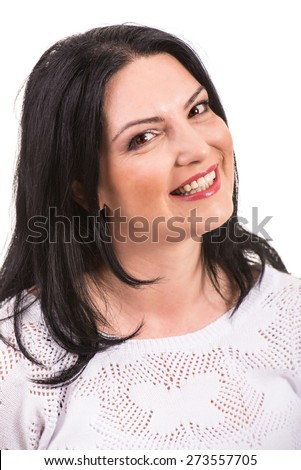 Close up of smiling woman face isolated on white background - stock photo
