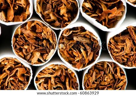 Close up of smoking cigarettes as anti smoking concept - stock photo