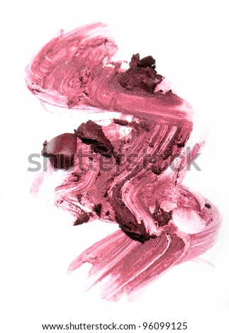 Close up of smudged lipstick - stock photo