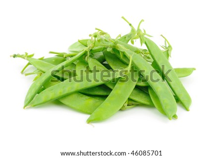 Close up of snow peas isolated on white - stock photo