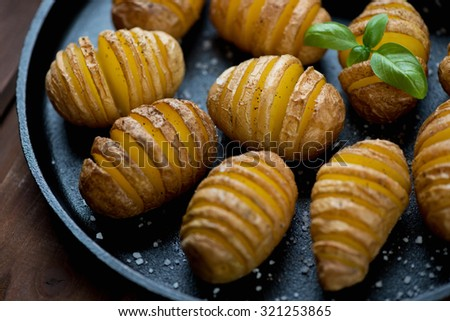 Close-up of so-called swedish potatoes, selective focus
