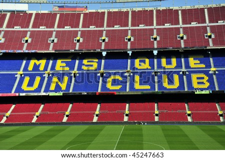 Close up of soccer stadium Camp Nou in Barcelona, Spain.