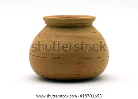 Close-up of soft clay pot over white background