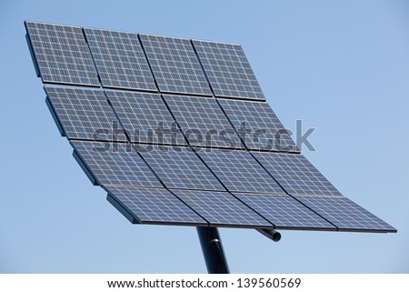 Close up of solar panel with clear blue sky
