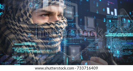 Close up of soldier with rifle looking away against virus background