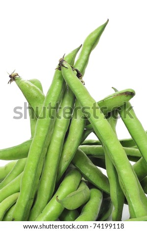 close up of some broad bean pods on a white background