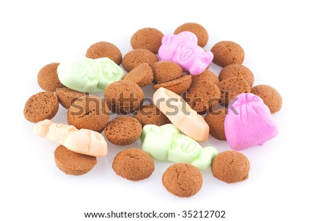 Close up of some candy eaten in Holland during a dutch holiday called sinterklaas; isolated on white.