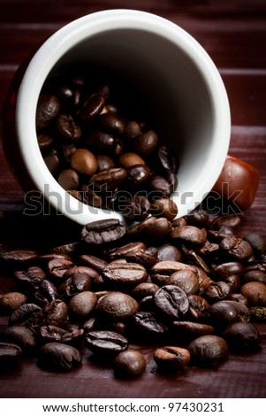 close-up of some coffee beans - stock photo