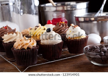 Close up of some decadent gourmet cupcakes frosted with a variety of frosting flavors. - stock photo
