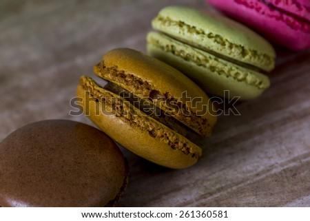 close up of some fresh made Macaron - stock photo