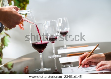Close up of sommelier pouring  red wine with decanter at wine tasting.Female hand taking notes at table. - stock photo