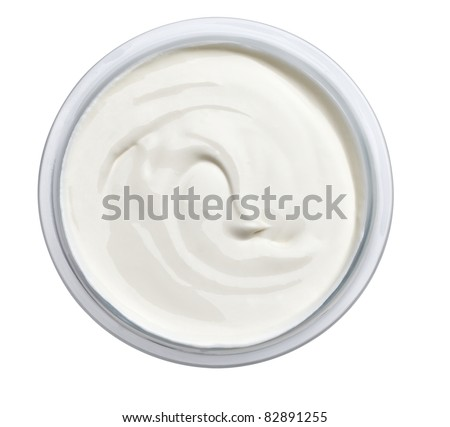 close up of sour cream or beauty cream on white background with clipping path - stock photo