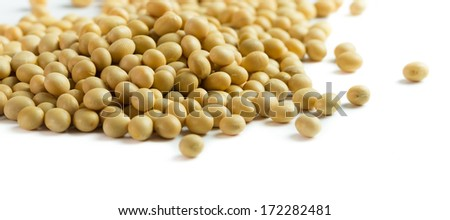 Close up of soya beans on white background