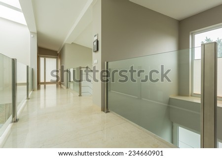Close-up of spacious bright hall in luxury mansion - stock photo