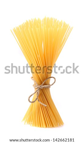 Close up of Spaghetti isolated on white background.