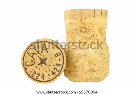 "Close-up of Spanish champagne (also known as ""cava"") corks."