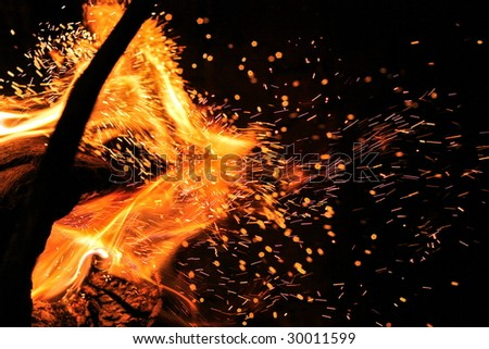 close up of spark fire and flames on a black background