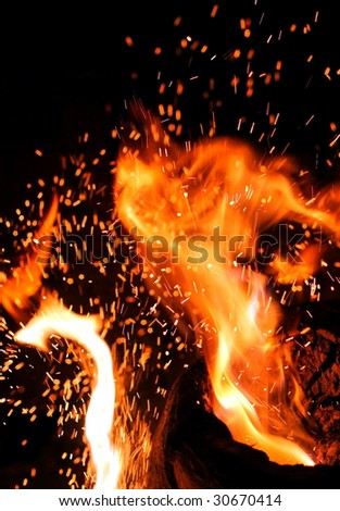 close up of spark fire and flames on a black background-2