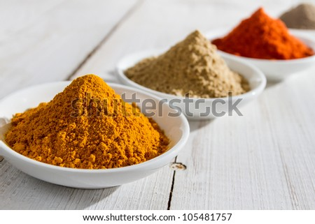 Close-up of spices in small bowl