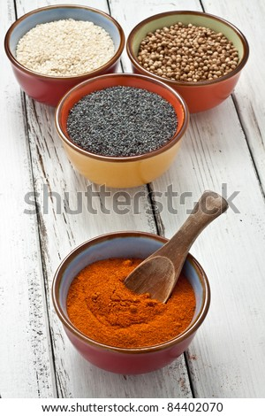 close up of spices on bowl - stock photo