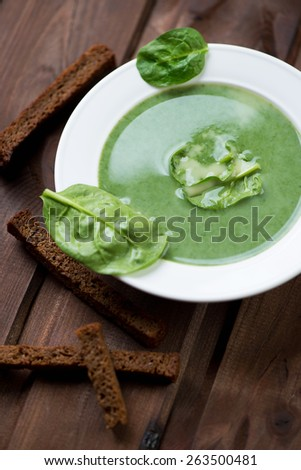 Close-up of spinach cream soup with croutons, selective focus - stock photo
