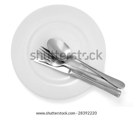 close up of spoon,fork, knife and plate on white background with clipping path