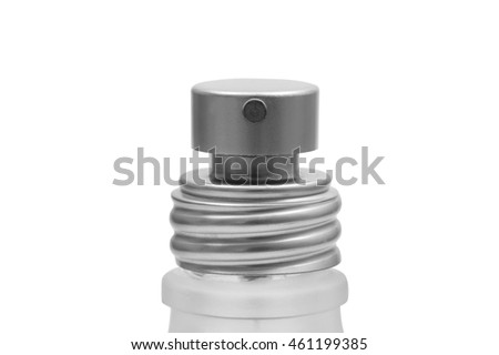 Close up of spray head of spray bottle for perfume or cosmetic isolated on white