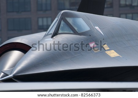 Close up of SR71 Blackbird spy plane nose