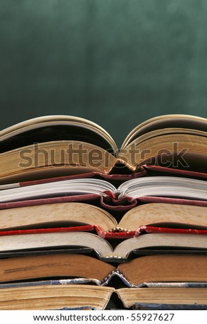 close up of stack of books - stock photo