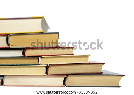 close up of stack of books on white background, with clipping path included