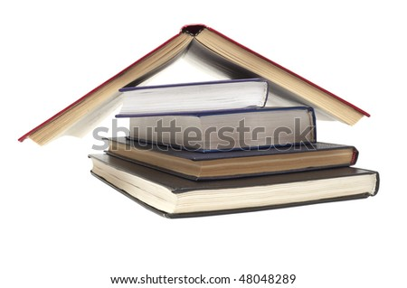 close up of stack of books on white background, with clipping path included - stock photo